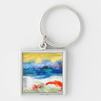 Air Apparent I Silver-Colored Square Key Ring