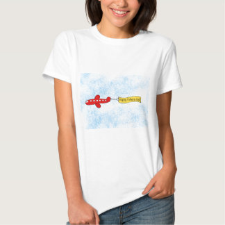 Airplane sky banner 'Happy Fathers Day' Cartoon Tee Shirt