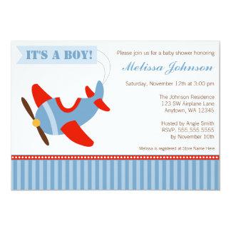 Airplane Stripes Red Blue Boy Baby Shower 13 Cm X 18 Cm Invitation Card