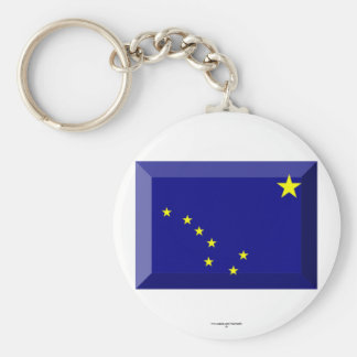 Alaska Flag Gem Basic Round Button Key Ring