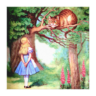 Alice and the Cheshire Cat in Wonderland Stretched Canvas Print