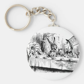 Alice at the Mad Tea Party Basic Round Button Key Ring