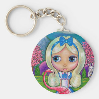 Alice in Wonderland and Flamingo Keychain