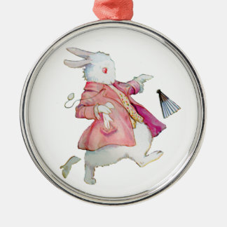 Alice's White Rabbit in Wonderland Silver-Colored Round Decoration