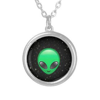 alien emojis round pendant necklace