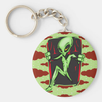 Alien Invades Your Home Basic Round Button Key Ring