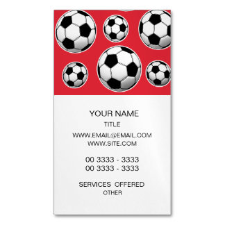 Alizarin Crimson Soccer Ball Pattern Magnetic Business Cards