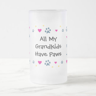 All My Grandkids-Grandchildren Have Paws Frosted Glass Mug