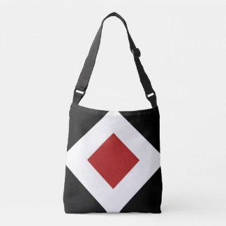 All-Over-Print Red Diamond, White Border on Black Tote Bag