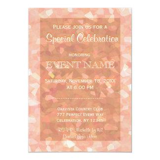 All Purpose   Peach Glitter 13 Cm X 18 Cm Invitation Card