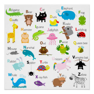 Alphabet with animal pictures and letters