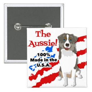 American Aussie 15 Cm Square Badge