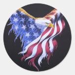 American Eagle Flag Round Sticker