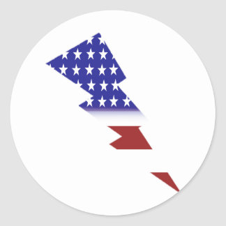 American Flag - lightning shape Round Sticker