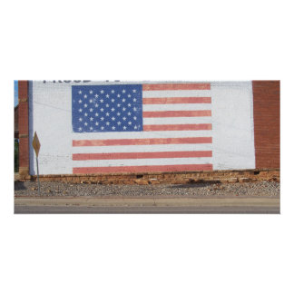 American Flag painted on old building Personalised Photo Card