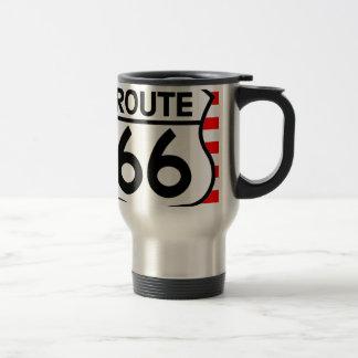 American Flag Route 66 Shield Stars & Stripes Stainless Steel Travel Mug