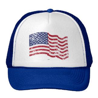 American Flag Waving - Distressed Cap