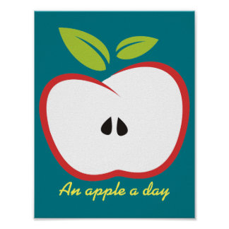 An apple a day illustration poster