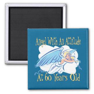 Angel 60th Birthday Square Magnet