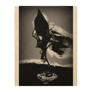 Angel Black & White side Wood Print