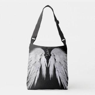 ANGEL WINGS Black Custom Monogram Tote Bag
