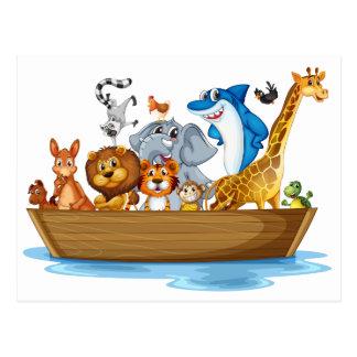 Animal on boat postcard