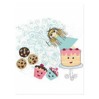 Anime Girl Cupcakes, Cookies, Cake and Magic Wand Postcard