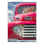 Anniversary-Golden Retrievers in vintage truck Greeting Card