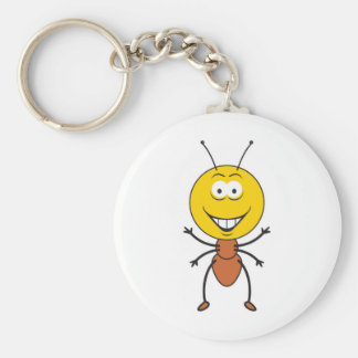 Ant Smiley Face Basic Round Button Key Ring