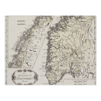 Antique Map of Norway Postcard