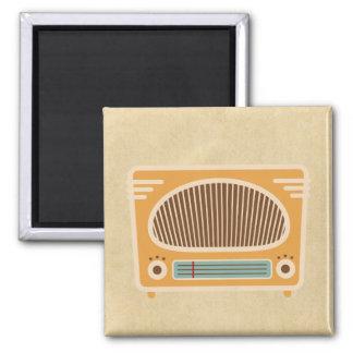 Antique Tube Radio Design Square Magnet
