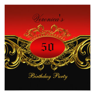 Any Age Birthday Party Elegant Red Black Gold 13 Cm X 13 Cm Square Invitation Card