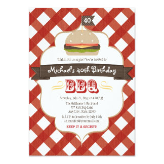 ANY AGE SURPRISE BBQ BIRTHDAY PARTY 13 CM X 18 CM INVITATION CARD
