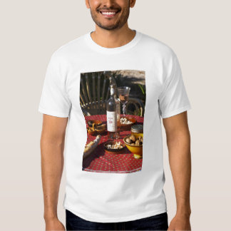 Aperitif and appetizers prepared: bread, olives, shirts