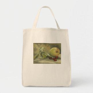 """""""Apple & Cherries"""" painted by Margie Daniels Grocery Tote Bag"""