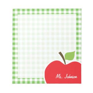 Apple for Teacher; Green Checkered; Gingham Scratch Pad