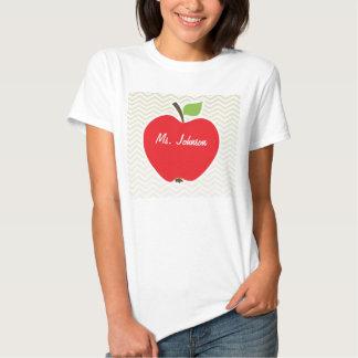 Apple on Beige Chevron; zig zag T Shirt
