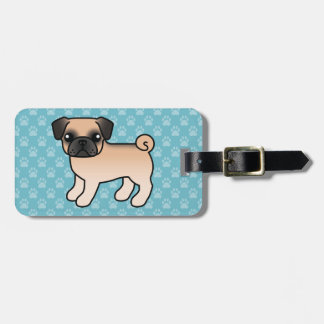 Apricot Fawn Pug With Morrison Mask Tags For Luggage