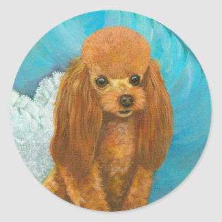Apricot Red Poodle Puppy & Ball Stickers