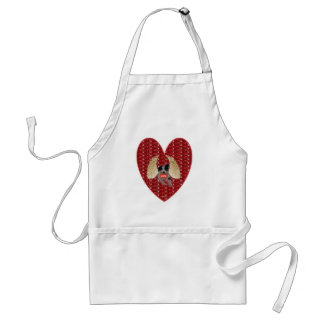 Apron Dog Cupid Red Heart Glitter