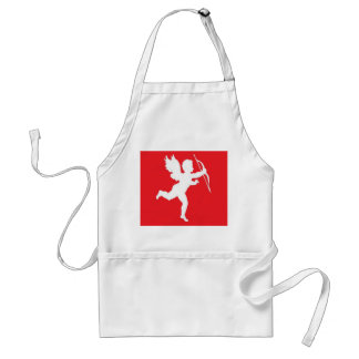 Apron White Cupid On Red