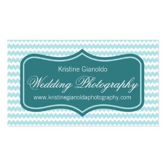 Aqua Chevron Wedding Photographer Business Cards