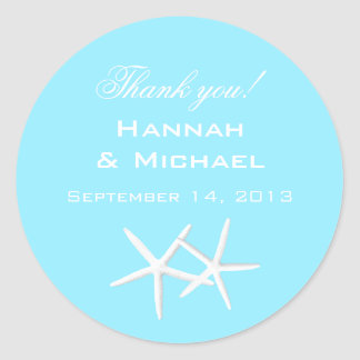 Aqua Starfish Round Personalized Thank You Labels Round Sticker