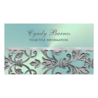 Aqua with Silver Damask Business Card