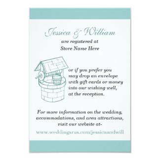 Aquamarine & White Wedding Wishing Well Card 9 Cm X 13 Cm Invitation Card