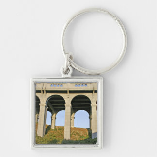 Arched supports Patterson Memorial Bridge Silver-Colored Square Key Ring