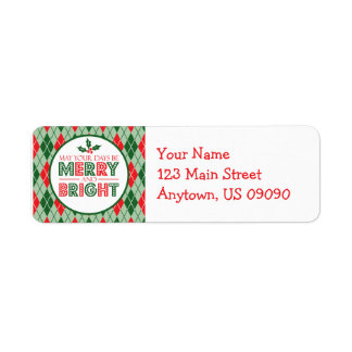 Argyle May Your Days Be Merry And Bright Christmas Return Address Label