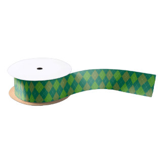 Argyle Pattern, Green Satin Ribbon