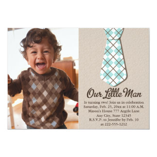 Argyle Tie Little Man Photo Birthday Invitations