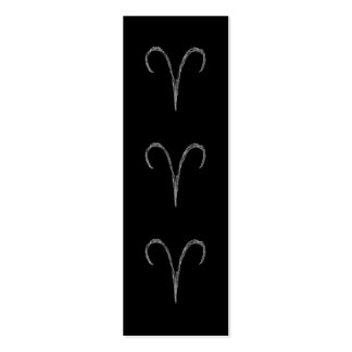 Aries. Zodiac Astrology Sign. Black. Pack Of Skinny Business Cards